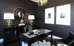 elegant home office. Elegant Home Office In Black And Gold