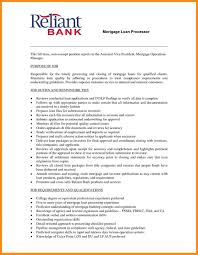 Assistant Loan Processor Sample Resume Mortgage Loan Processor Job Description Template Templates Resume 15