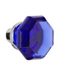 vintage cobalt blue crystal door knob