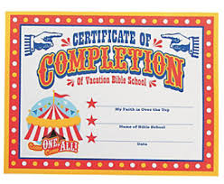 Vbs Certificate Of Completion 1 Set