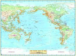 ring of fire pacific ocean wall map  mapscom