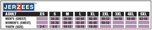 Jerzees T Shirt Size Chart Size Chart Jerzees