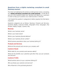 Questions To Ask Business Owners 20jun17 Questions From A Digital Marketing Consulting Firm
