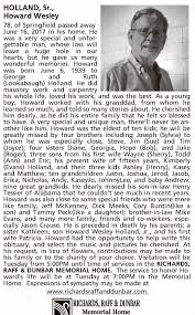 Obituary for Howard Wesley HOLLAND, 1939-2017 (Aged 78) - Newspapers.com