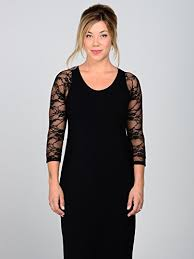 Sleevey Wonders Womens Black Lace Reversible Slip On 3 4