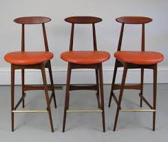 Interesting Brown Wood Three Mid Century Bar Stools For Kitchen High Chair  Design Ideas