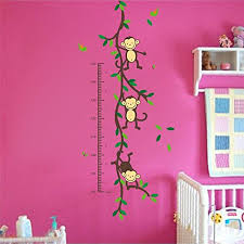 Monkey Growth Chart Wall Funnypicker Monkeys Growth Chart Wall Decals Kids Playroom