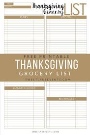 Thanksgiving Grocery List Template Thanksgiving Planning Grocery List Sweet Lane Events