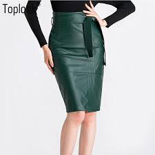 2019 toplook high waist pu leather skirt womens 2017 y sashes split pockets pencil skirts zipper knee length office lady skirt from bis
