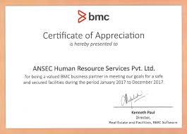 Bmc Appreciation Letter Ansec Hr Services