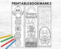 Christmas coloring pages for kids & adults to color in and celebrate all things christmas, from santa to snowmen to festive holiday scenes! Printable Easter Bookmarks Kids Coloring Bookmarks Etsy