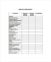 Budget Forms For Home Sample Budget Form