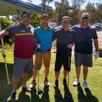 Collie Golf Club - Galleries - Two visitors flanking locals Ash Stewart and  John Williamson