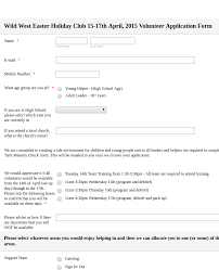 Easter Holiday Club Volunteer Application Form Template