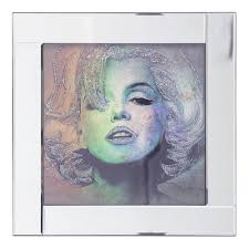 mirror picture frame with glittered marilyn monroe ilration silver