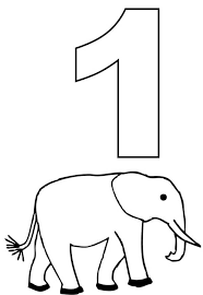 Small Picture Number One and Elephant Coloring Page NetArt