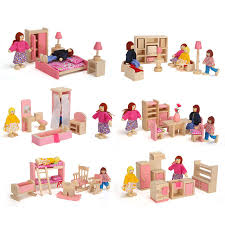 dollhouse furniture cheap. Kayu Miniatur Dollhouse Furniture Toys Set Kamar Tidur Dapur Ruang Makan Malam Mandi Tamu Pretend Play Toy @ Z88 Cheap U