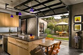 Image Door Opener Homedit Kitchen With Private Courtyard Outside Glass Garage Doors