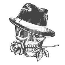 Obraz Lebka V Klobouku S Růže Květ V ústech Vektorové Ilustrace Vektor