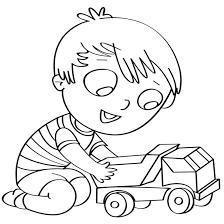 Disegno Per Bambini Da Colorare Gratis Bambino Camion Giocare