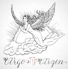 нарисованный от руки знак зодиака дева или дева стоковая векторная графика и