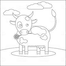 動物牛子供のための塗り絵 イラストレーションのベクターアート素材や
