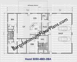 50 foot wide 4 bedroom barndominium floor plan 2 bath hazel