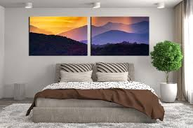 2 piece wall decor panoramic landscape photo canvas mountain