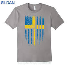 Design Your Own T Shirt Gildan Wholesale Discount Teenage Natural Cotton Printed Swedish American Sweden America Flag T Shirt Long Sleeve Tee Shirts Design Your Own T Shirts From