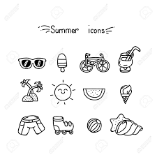 Summer Icons Set Of Cute Summer Icons Black Outline