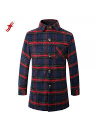 fashion winter jacket mens wool coat jackets plaid on lapel mid length top coat with pocket