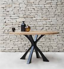 exe dining table size d150cm 60 top character oak base steel finished in anthracite