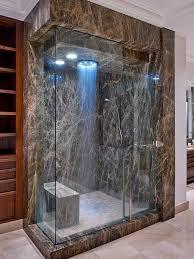 modern dark marble shower and a bench to enjoy the steam