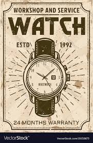 Service Advertisement Watch Repair And Service Advertising Poster Vector Image