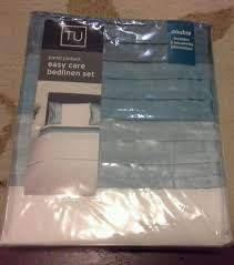 brand new teal panel pintuck easy care double bed duvet set by sainsburys in packaging