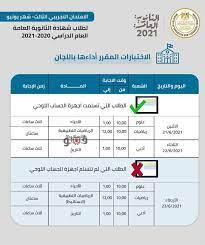 جدول الاختبار التجريبي الثالث لطلاب الثانوية العامة 2021