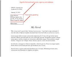 Query Letter Format Writing A Query Letter To A Literary Agent Mamiihondenk Org