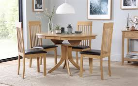 hudson round extending dining table and 4 oxford chairs round oak kitchen table sets