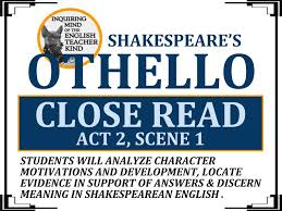 Othello Character Chart Worksheet Answers Othello Close Reading Worksheet Act 2 Scene 1