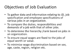 objectives for jobs job evaluation ppt