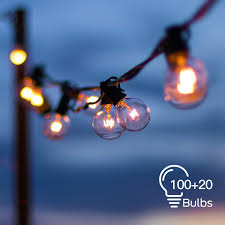 2 Pack Globe String Lights With 100 20 Clear G40 Bulbs 112 Ft Totally Hanging Outdoor String Lights Connectable Waterproof For Indoor Bedroom Patio
