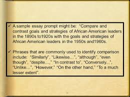 your goes here yes i can write a well written  35 a sample essay prompt might be compare and contrast goals and strategies of african