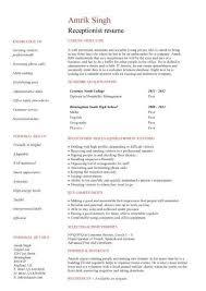 Receptionist Resume In Qatar Sales Receptionist Lewesmr