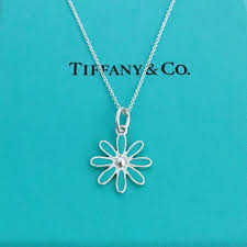 details about tiffany co silver blue enamel daisy flower pendant necklace 16 new pouch