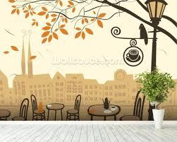 street cafe wallpaper mural room setting on cafe wall art nz with street cafe wallpaper wall mural wallsauce new zealand