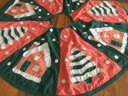 vintage crate u0026 barrel christmas tree skirt cotton applique 48u0027 house trees snow hover to zoom crate and barrel christmas tree skirt96