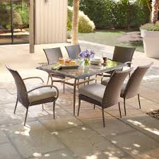 hampton bay posada piece patio dining set with gray cushions sets swing outdoor chairs and benches stools ikea umbrella bench stand single ontario canopy
