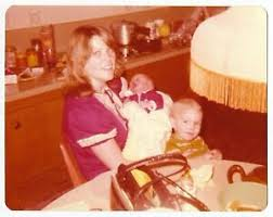 Vintage 70s PHOTO Young Woman Mom Holding Baby w/ Toddler at Kitchen Table  | eBay