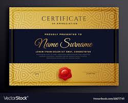 Premium Golden Certificate Template Design