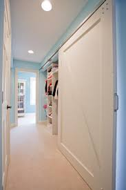 closet doors lowes hall traditional with barn door blue paint blue wall closet shelves sliding